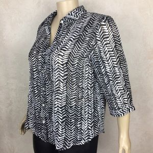 Chico's Black and White Semi Sheer Top